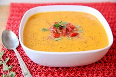 Butternut Squash Soup - only 6 ingredients!  Perfect way to warm you up on a cool fall day :)
