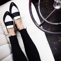 two-tone black & white loafers & raw hem skinny black jeans #style #fashion #shoes