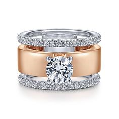 Gabriel & Co.'s selection of Wide Band Engagement Ring settings is impressively gorgeous designs and eye catching. At Gabriel, we create engagement rings & other beautiful pieces that help celebrate those simple moments in life. Round Diamond Engagement Rings, Band Engagement Ring, Vintage Engagement Rings, Wide Band Diamond Rings, Gold Rings, Rose Gold Jewelry, Jewelry Rings, Fine Jewelry, Gold Jewellery