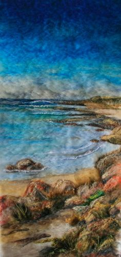 Felted beach-scape More This is a lovely part of the Island – Naracoopa – on the east coast of King Island. This scene is looking south towards Lover's Lane on a calm sunny day. Again, layers of wool rov… Nuno Felting, Needle Felting, Felt Wall Hanging, Kings Island, Felt Pictures, Wool Art, Art Textile, Felt Art, Felt Animals