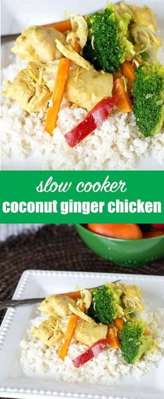If you love comforting, creamy chicken dishes, you'll love this Slow Cooker Coconut Ginger Chicken. It's a simple dinner that is pale and dairy free! Slow Cooker Coconut Ginger Chicken {Easy Healthy Dinner Recipe} via @tastesoflizzyt