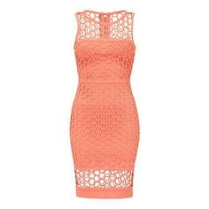 Coral bandage bodycon dress with sheer neckline ($395) ❤ liked on Polyvore featuring dresses, see through dress, sheer cocktail dress, sheer dress, red dress and red beaded dress