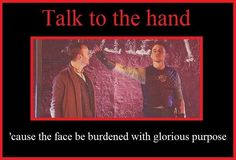 This is Tom Hiddleston shushing Mark Gatiss in Coriolanus. THIS PICTURE IS EVERYTHING, YOU GUYS.