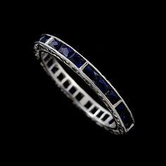 Platinum Art Deco Style 1.44CT French Cut Baguette Blue by OroSpot