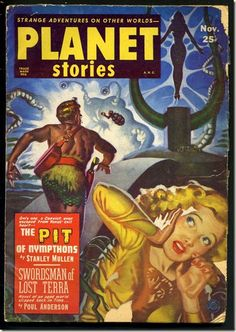 Planet Stories Pit of Nympthons SF Pulp Cover