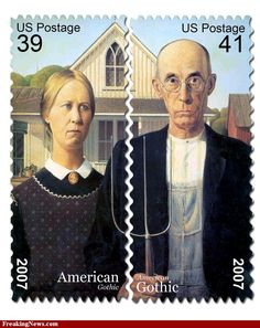 American Gothic painting by Grant Wood.  Check out the pricing, folks.