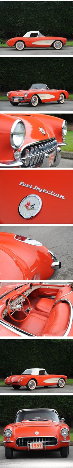 cool 1957 Chevrolet Corvette Roadster - I've seen 4, touched 2, got to drive 1. A...  Cars and car stuff