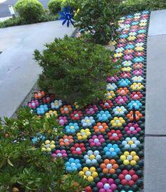 Golf art, golf decorations, lawn flowers, golf balls painted into flowers, golf garden, california drought