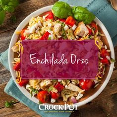Watching your carb intake? This hearty and zesty Mexican-inspired dish doesn't require tortillas or taco shells! Try making this recipe for Enchilada Orzo for a healthy dinner tomorrow night. Crock Pot Tacos, Crock Pot Slow Cooker, Slow Cooker Recipes, Crockpot Recipes, Taco Shells, Enchilada Recipes, Orzo, Tortillas, Enchiladas