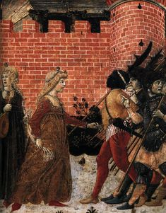 BENVENUTO DI GIOVANNI  (b. 1436, Siena, d. after 1518, Siena)    The Meeting of Jephthah and his Daughter (detail)  c. 1470  Tempera on panel  Private collection