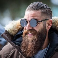 Cool Long Beard with Slicked Back Hair