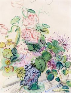 Bouquet With Bunch Of Grapes Artwork by Raoul Dufy Hand-painted and Art Prints on canvas for sale,you can custom the size and frame