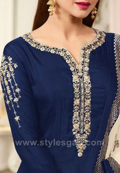 Latest neckline gala designs collection consists of new styles and patterns of cutwork, embroidered neck for churidars, anarkalis, kurtis, etc. Indian Designer Outfits, Indian Outfits, Designer Dresses, Kurta Designs, Blouse Designs, Abaya Fashion, Fashion Dresses, Gala Design, Oriental Dress