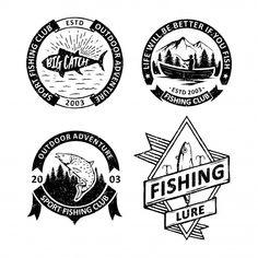 Set of vintage fishing badges Premium Vector Fish Illustration, Free Vector Illustration, Retro Background, Background Patterns, Beer Label Design, Vintage Logo, Memphis Pattern, Fish Logo, Hand Drawn Lettering