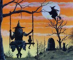 A witchy Halloween Night under Full Moon. Halloween Painting, Halloween Prints, Halloween Pictures, Holidays Halloween, Spooky Halloween, Vintage Halloween, Witch Pictures, Halloween Signs, Witch Painting