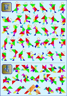 Puzzelen met ronde en vierkante tangrams - Vierkante tangram - Pagina KV8