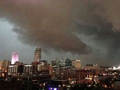 Storm clouds moving into downtown Omaha.