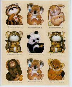 Vintage Hallmark Animal Critters Sticker Sheet Koala Cub Bunny 1976 New
