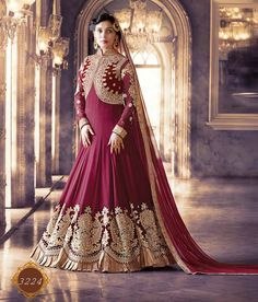 Naksh - Stunning Wine And Gold Pure Georgette Anarkali Suit With Viscose Dupatta