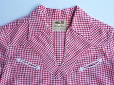 Red and White gingham pullover lace-up, short sleeved. Cowgirl Shirts, Western Shirts, 1950s Women, Vintage Western Wear, Red Gingham, White Lace, Short Sleeves, Shirt Dress, Pullover