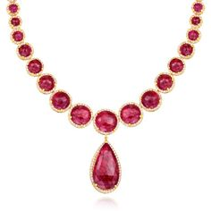 One of a kind handcrafted Scott Mikolay Rose Cut Ruby and Diamond Necklace in 18k yellow gold: http://www.desiresbymikolay.com/collections/scott-mikolay/products/scott-mikolay-ruby-diamond-necklace