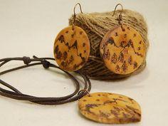 "Wooden earrings & necklace "" Mountain, my love"" by balintARTline on Etsy Wooden Earrings, Wooden Jewelry, Unique Jewelry, Mountain, My Love, Handmade Gifts, Accessories, Etsy, Vintage"