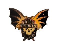 """vintage Ride To Live To Ride motorcycle metal enamel pin skull with wings biker by VintageTrafficUSA  14.00 USD  A vintage Ride To Live pin Old but decent condition. Measures: approx 1"""" or less Add inspiration to your handbag tie jacket backpack hat or wall. Have some individuality = some flair! 20 years old hard to find vintage high-quality cloisonne lapel/pin. Beautiful die struck metal pin with colored glass enamel filling. -------------------------------------------- SECOND ITEM SHIPS…"""