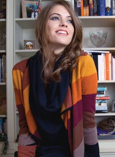Juniper Throw - Mixing a rich palette of colourful stripes and jewel tones make up this trio of cardis. They're the perfect backdrop against a snow scene. Sustainable Fabrics, Sustainable Clothing, Skirt Pants, Braintree Clothing, Winter Fashion, How To Make, How To Wear, Stripes, Jewel Tones