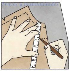 Vista para el escote. Puede hacerse de dos o tres piezas según que la prenda lleve o no abertura central. Modo de averiguar el verdadero biés de la tela