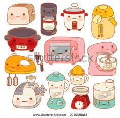 Set Of Adorable Kitchen Appliances Cute Kettle Lovely Oven Sweet Blender Isolated On White In Chlildlike Doodle Style