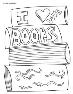 i love books coloring page - Book Coloring Page