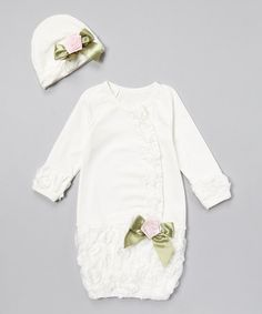 Another great find on #zulily! White & Pink Floral Gown & Beanie by Stephan Baby #zulilyfinds