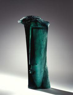 """Stanislav Libensky and Jaroslava Brychtova, Czech, Glass Sculpture """"Head I""""."""