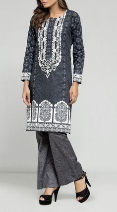 Dark Gray Embroidered Cambric Dress (2pc) Contact: (702) 751-3523  Email: info@pakrobe.com  Skype: PakRobe