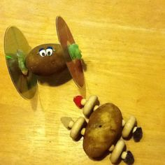 """""""Today we went to the Children's Museum for a class on potatoes. Our favorite activity was designing and building potato cars using materials like wooden rods, balls and wheels along with gum drops and CDs.  After testing their cars both kids went back to tweak their design. What a fun lesson in engineering for kids!"""""""