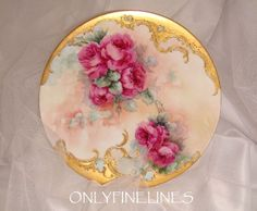 Beautiful T&V Limoges Plate with Hand Painted Roses - Gilded Design  would make a pretty purse mirror