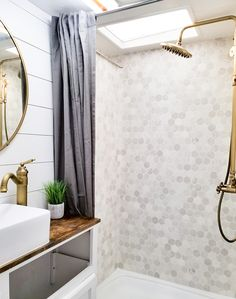 tour this remodeled rv filled with lots of white shiplap and warm wood tones from wilsongrandadventures Rv Bathroom, Bathroom Furniture, Master Bathroom, Bathroom Stuff, Smart Furniture, Furniture Ideas, White Shiplap, Rv Interior, Campervan Interior