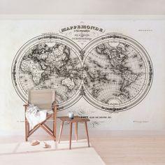 #Vliestapete - #Weltkarte - Französische #Karte der Hemissphären von 1848 - #Fototapete Breit  #industrial #Style #modern #industriell #Wohnstil #schlicht #Backstein