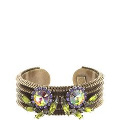 DANNIJO Otto Cuff ($199) ❤ liked on Polyvore featuring jewelry, bracelets, accessories, dannijo, swarovski crystal jewelry, cuff jewelry, dannijo jewelry, brass bangles and flower jewelry