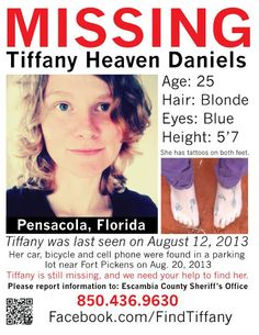 Missing Persons of America: Tiffany Daniels: Missing after leaving work at Pensacola State College