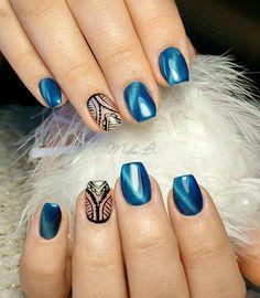 Cat eye nails,blue nails, lace nail art