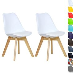 WOLTU BH29bl 2 2 X Esszimmerstühle 2er Set Esszimmerstuhl Design Stuhl  Küchenstuhl Holz, Neu