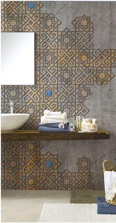 59 Ideas for textured wallpaper bathroom art deco Wall Cladding Interior, Cladding Design, Interior Walls, Bathroom Interior Design, Interior Decorating, Bathroom Wallpaper, Bathroom Art, Wall Decor Design, Decor Inspiration