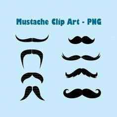 INSTANT DL  Moustaches Clip art  8 png file Digital by jonyba, $2.50