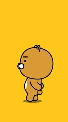 Ryan from Kakao Friends. Bear Wallpaper, Kawaii Wallpaper, Cartoon Wallpaper, Pattern Wallpaper, Wallpaper Backgrounds, Iphone Wallpaper, Korea Wallpaper, Ryan Bear, Kakao Ryan