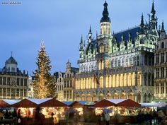 The Grote Markt Grand Place in December Brussels Belgium
