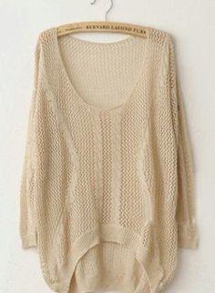 Twist Hollow-out Beige Sweater
