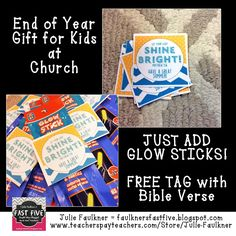 Faulkner's Fast Five | End of Year Gift Tag for Kids a Church | Glow Stick Gift Tag with Bible Verse | End of Year Gift Idea | FREE Religious Gift