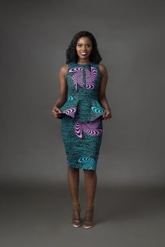 African print dress made to be elegant bold and beautiful and definitely meant to turn heads! Double layered peplum detail Back zipper Fully lined cotton Fits snug sizing up is recommended African Print Skirt, African Print Dresses, African Print Fashion, Africa Fashion, African Fashion Dresses, Fashion Skirts, African Prints, Fashion Outfits, Ankara Dress Styles