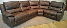 SHELLEY ANTIQUE BROWN LEATHER MAN REC 4 PIECE CURVED CORNER GROUP (265) £799 in Home, Furniture & DIY, Furniture, Sofas, Armchairs & Suites   eBay